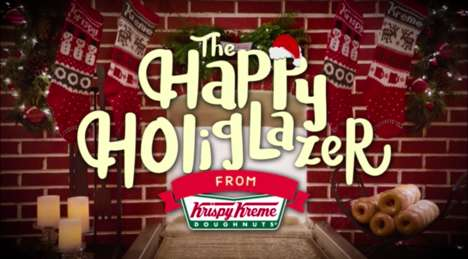 Festive Donut-Glazing Videos - Krispy Kreme's 'Happy Holiglazer' is an Alternative Yule Log Video