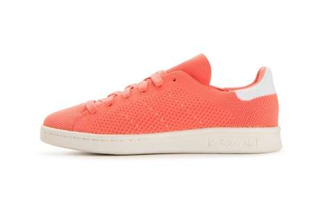 Vibrant Orange Knit Sneakers