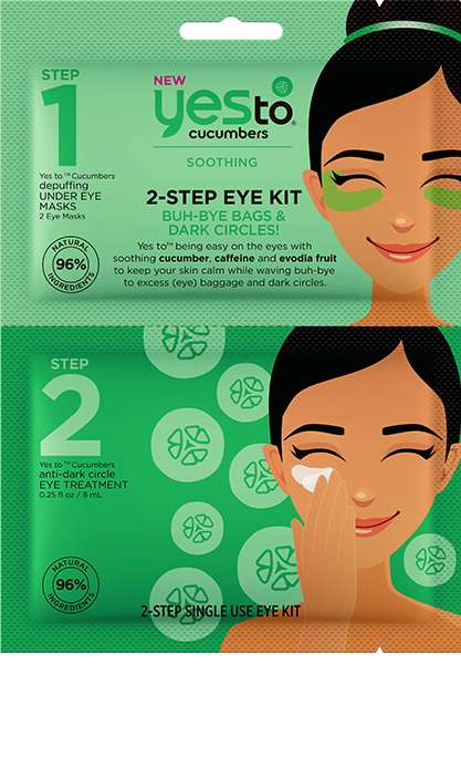 Soothing Undereye Masks - YES TO's '2-Step Single Use Eye Kit' Soothes with Cucumbers for the Eyes