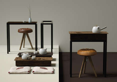 Specialized Desk Tea Sets - The 'Lotus' Tea Set Features a Spot for Storing Leaves After Brewing