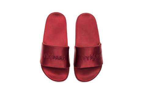 High-Shine Red Slides