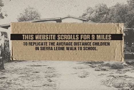 Charitable Scrolling Websites - 9 Mile Scroll Visualizes the Walk to School in Rural Sierra Leone