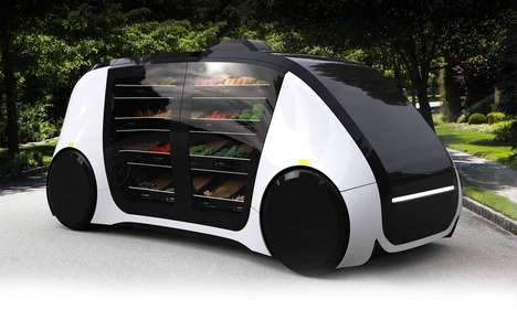 Grocery-Hauling Car Concepts - The Robomart Brings Vegetables and Produce To Your Door