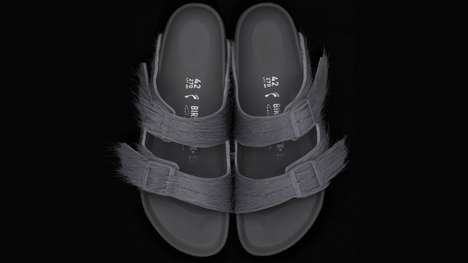 High-Fashion Sandal Collaborations - Rick Owens Updated the Birkenstock Silhouette Using Pony Hair