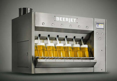 Accelerated Pint-Pouring Machines - The 'Beerjet 6' Pours Six Perfect Pints in Less Than 10 Seconds