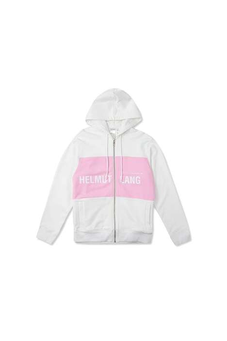Millennial Pink Designer Hoodies - These Helmut Lang Hoodies Feature a Thick Pink Stripe