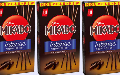 Salty Dark Chocolate Biscuits - The Mikado Dark Intense Biscuit Snacks Can be Eaten Anywhere