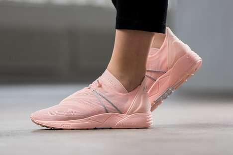 Peach-Hued Mesh Sneakers