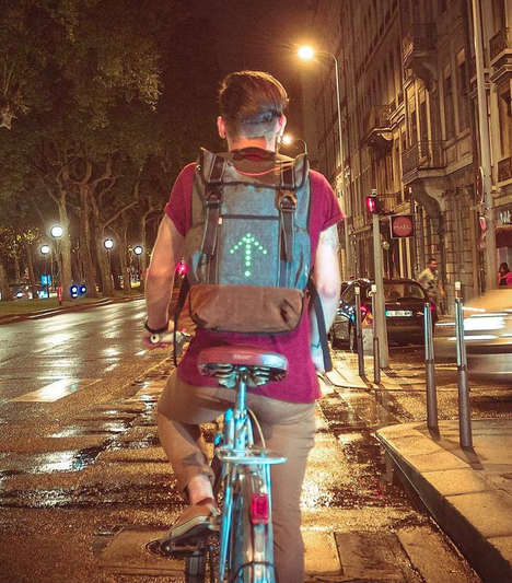 Signalling Commuter Bags - The 'Turn Signal Commuter Backpack' Shows Cyclists' Intentions