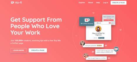 Free Patronage Plug-Ins - The Ko-fi Platform Helps Facilitate Donations from Fans to Creators