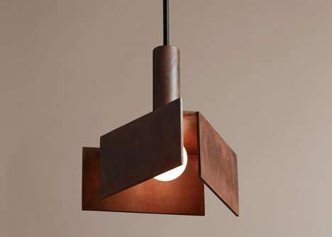 Geometric Lighting Installations - Pelle Released a Set of Weathered Steel Lighting Fixtures