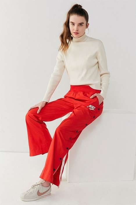 Retro Tear-Away Pants - Nike's Retro Tear-Away Pants Arrive in a Bold Red Hue