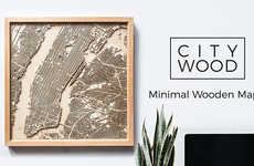 Minimalist Wooden Maps