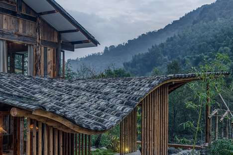 Wavy Naturalistic Roofs - Springingstream Guesthouse's Roof is Inspired by the Surrounding Mountains