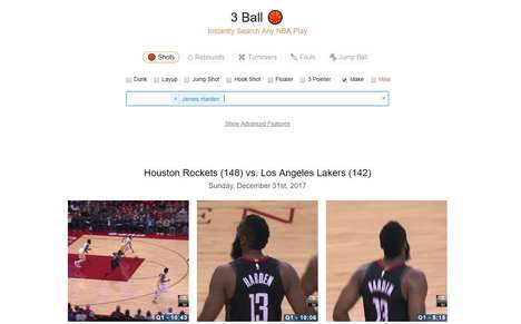Searchable Basketball Databases - The '3 Ball' Platform Lets Fan Search for Any Type of Play