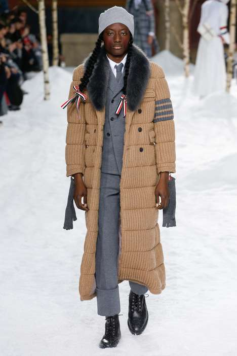 Gender-Progressive Fashion Shows - Thom Browne's Fall Line Features Men in Pigtails in Sylvan Narnia