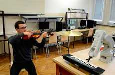 Piano-Playing Robots - This Musical Robot's 3D-Printed Fingers Interact with Piano Keys