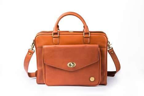 Hatched Leather Briefcases