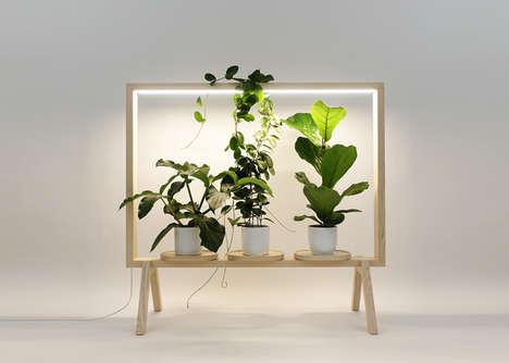 LED-Integrated Wooden Plant Frames