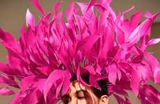 Over-Sized Feathered Headdresses - Valentino Boasts Vibrant Colors in All-Encompassing Hat Designs