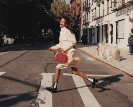 Cheerful Luxurious Handbag Photoshoots