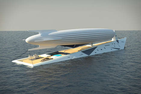 Luxury Airship-Carrying Yachts - The 'Dare to Dream' Airship Superyacht Conquers the Sea and Sky