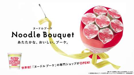 Instant Noodle Bouquets - Nissin Created a Unique Food Bouquet for Valentine's Day