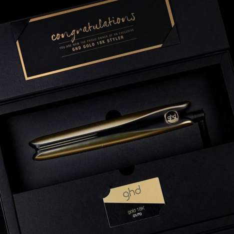 Extravagant Gold Hair Tools - This Hair Straightener by Good Hair Day is Covered in 18-Karat Gold