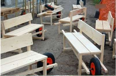 DIY Wheelbarrow Benches - Mobile Outdoor Seating on a Wheel