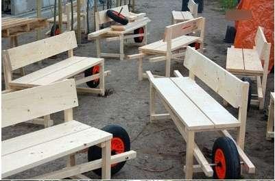DIY Wheelbarrow Benches
