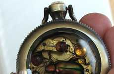 Steampunk Insect Jewelry - 'Kafka Clocks' From Noveau Motley Are Like Mini Shadowboxes