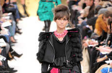 Punk 80s Fashion - Black Lace, Neon Pink and Fingerless Gloves at Louis Vuitton Fall RTW