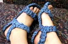 DIY Eco-Sandals - Crocheted Grocery Bags Make Sensible Plarn Shoes