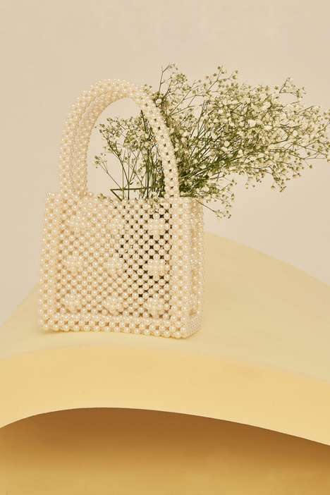 Embellished Pearl Handbags - Front Row Shop's Handcrafted Handbag is Opulent and Vintage-Themed