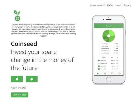 Spare Change Investment Platforms - 'Coinseed' Lets You Invest Change in Cryptocurrencies