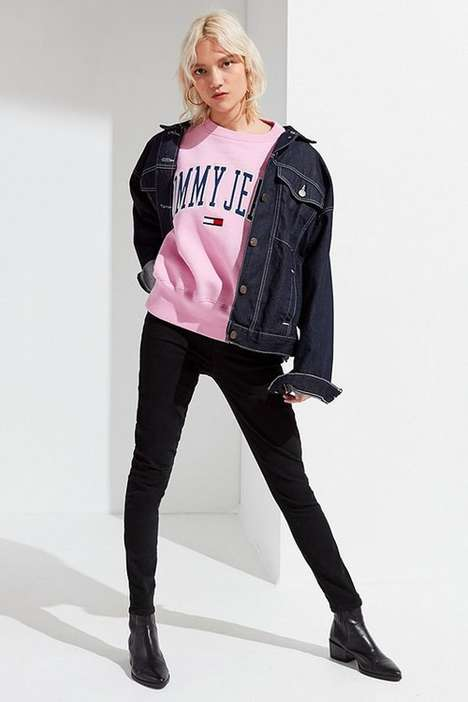 Pink Logo Crewneck Sweaters - Tommy Jeans Have Released a Millennial Pink Logo Crewneck