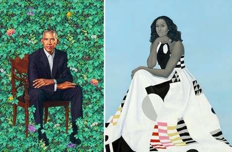Colorful Presidential Portraits - The Obama Portraits Show Barack and Michelle with Symbolic Meaning