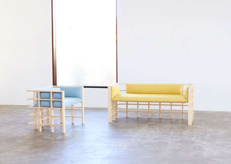 Grid-Foundation Furnishings - Elliot Bastianon Designed 'Straight Lines' Gridded Furniture Pieces