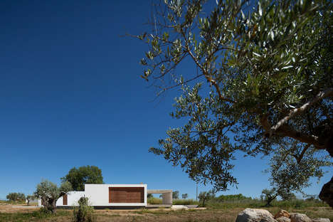 This Boxed White Structure Features a Flat Roof and Clean Design