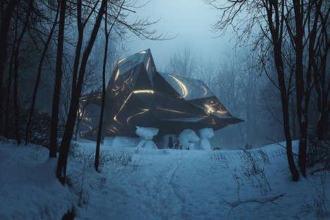 Sculptural Illusion Houses