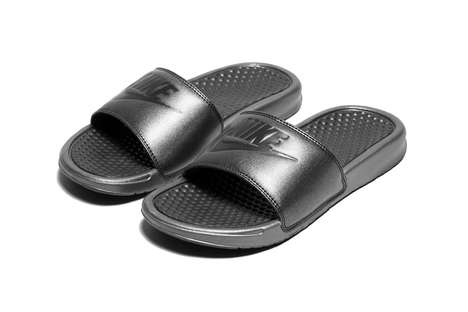 Athletic Metallic Black Slides