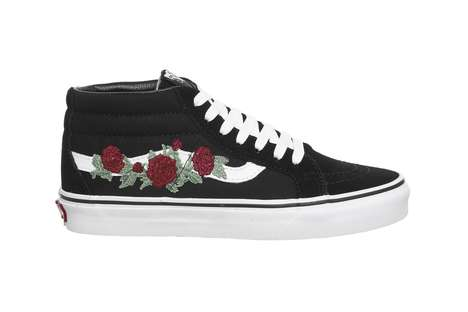 Embroidered Floral Skate Shoes - The New Vans 'Rose Thorns' Boasts a Slightly Gothic Aesthetic