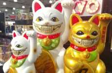 Eerie Artist-Adapted Lucky Cats - These New Ron English Figurines Were Debuted at the 2018 Toy Fair