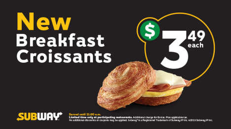 Rounded Breakfast Croissant Sandwiches