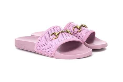 Tonal Pink Leather Slides