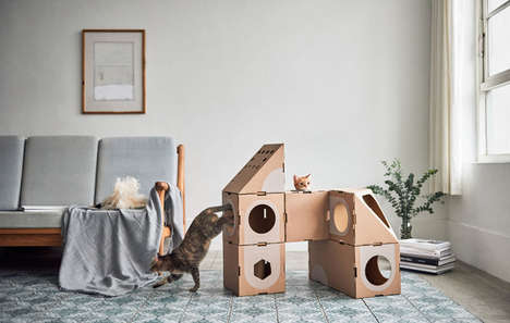 Recyclable Feline Jungle Gyms - This Modular Cardboard Furniture from A Cat Thing is Playful