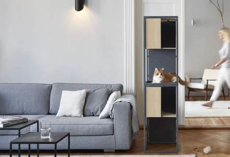 Vertical Modular Feline Furniture - The MiaCara 'Albergo' Cat Tree Offers a Perch for Furry Friends