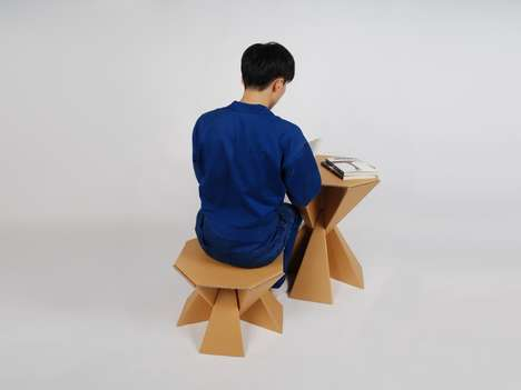 Prismatic Cardboard Furniture - The 'Octa' Stool is Crafted from Three Cardboard Pieces