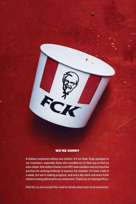 Cheeky Chicken Apology Ads - KFC Apologizes for Its UK Chicken Shortage with a Clever Ad