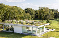 Green Roof Pool Houses - Wernerfield Designs a Rectangular Roof Garden with Native Plants